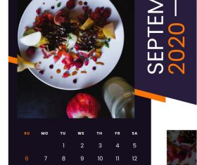 food restaurant 2020 calendar vector