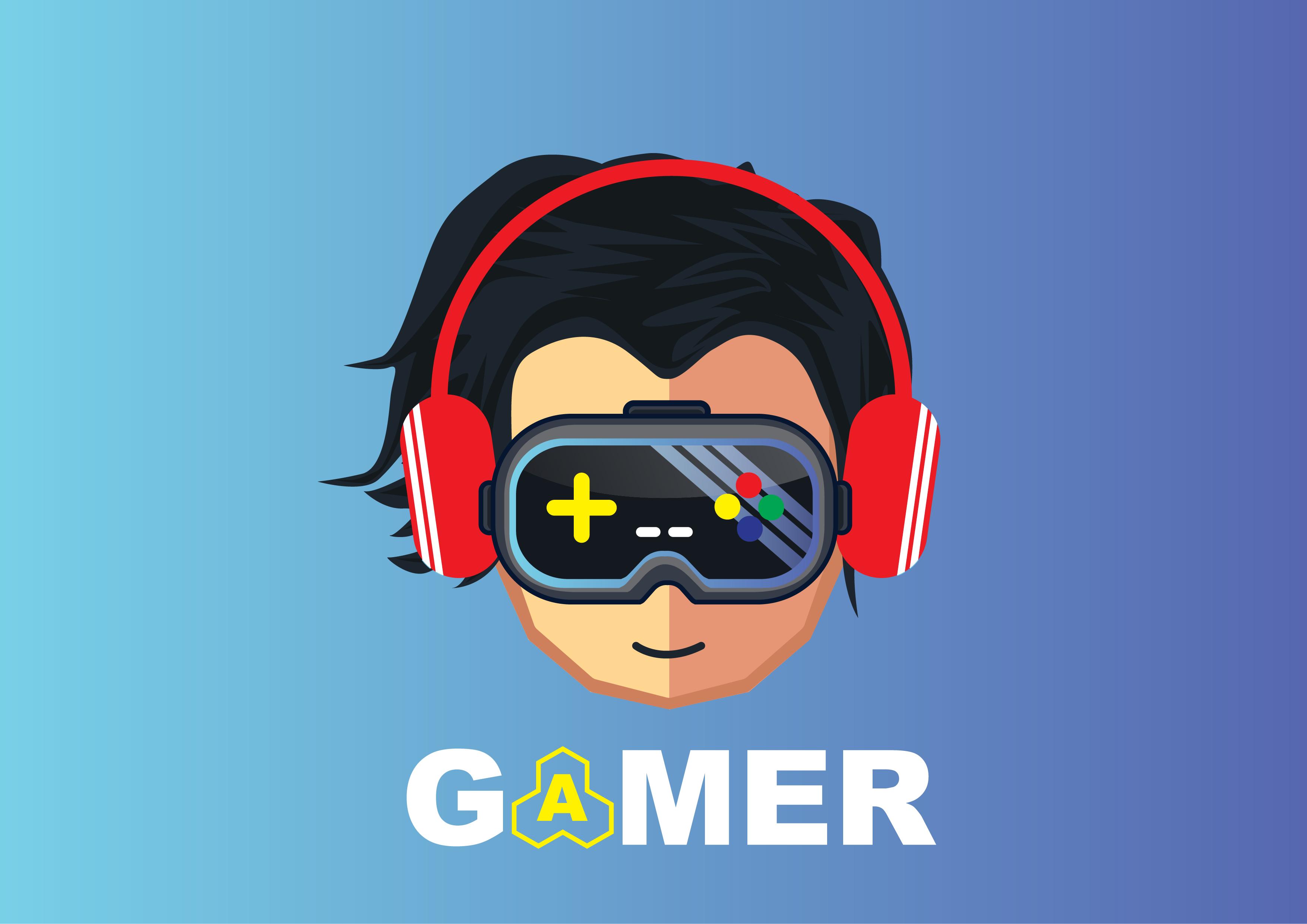 gamer icon character design cartoon