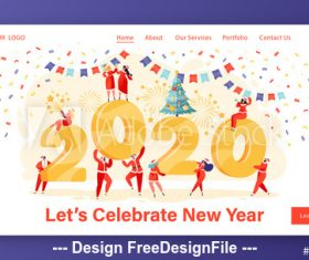 lets celebrate 2020 new year flat character website layout vector