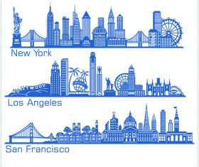 los angeles and other cities cities building silhouette vector