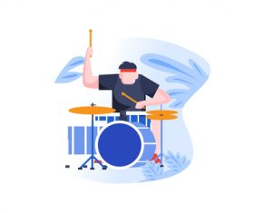 play the drum cartoon vector