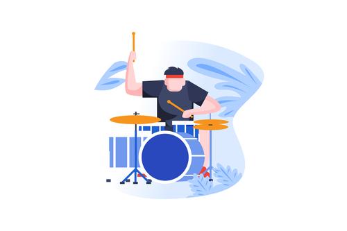 play the drum cartoon vector