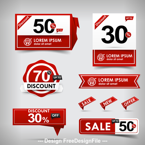 red and white web tag banner promotion sale discount style vector