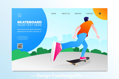 skateboard sport illustration template vector