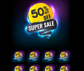 super sale neon vector