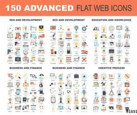 150 Colorful icons vector