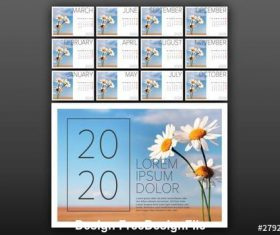 2020 Calendar photo placeholder vector