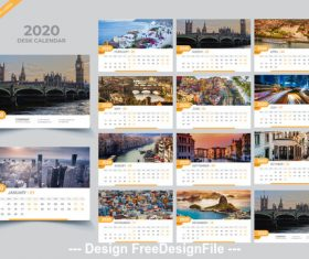 2020 Desk calendar template creative vector
