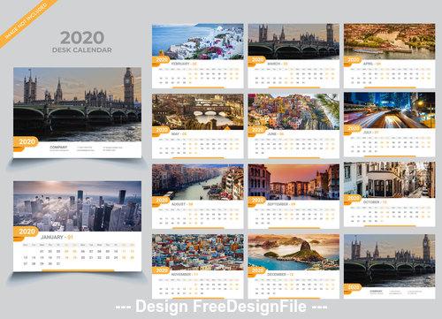 2020 Desk calendar template creative vector