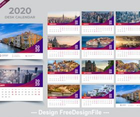 2020 Desk calendar template purple vector design