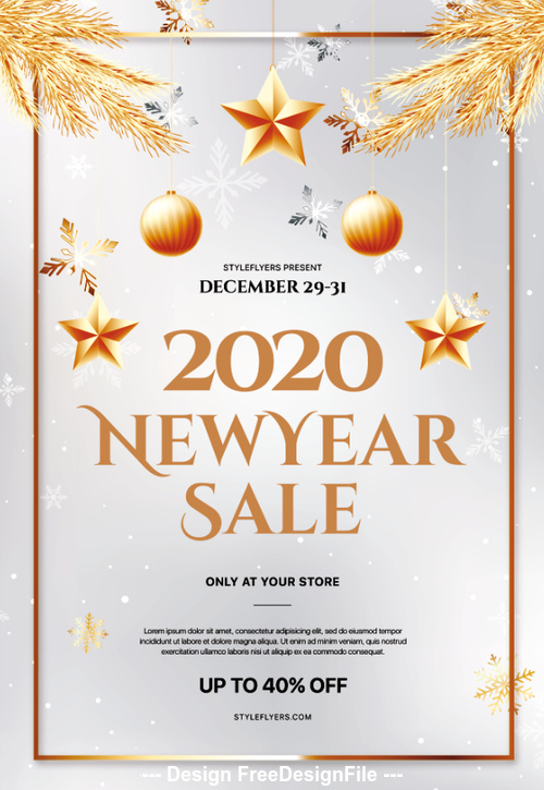 2020 New Year Sale Psd Flyer Template