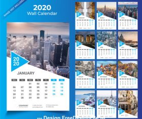 2020 Wall calendar blue vector template