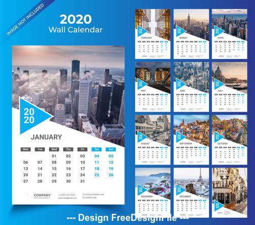 2020 Wall calendar blue vector template