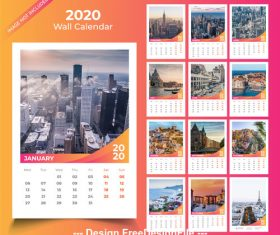 2020 Wall calendar template pink with orange vector design