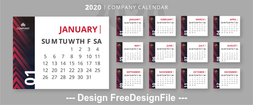 2020 business calendar template vector