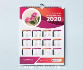 2020 calendar red and orange wave design vector