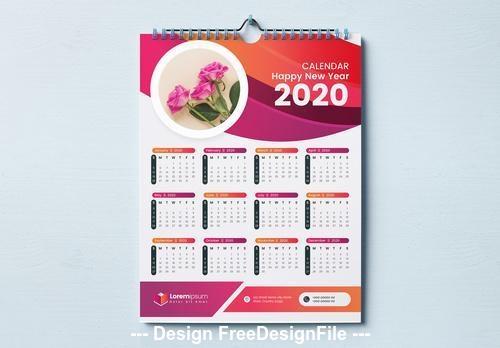 2020 calendar red and orange wave design vector