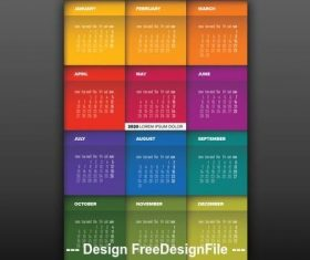 2020 colorful annual calendar vector