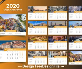 2020 desk calendar template orange vector design