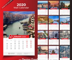 2020 desk calendar template red vector design
