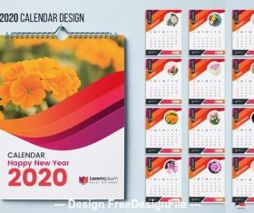 2020 flower background wall calendar vector
