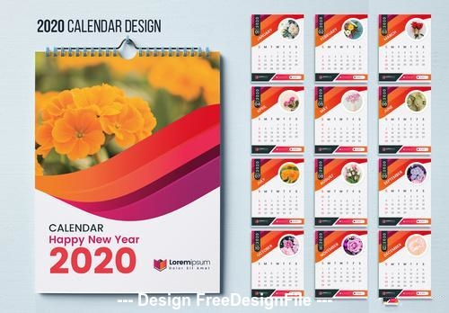 2020 flower background wall calendar vector