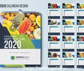 2020 fruit background wall calendar vector