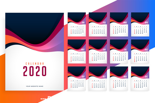2020 modern new year calendar template vector