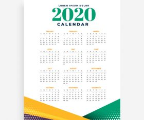 2020 new year calendar template vector