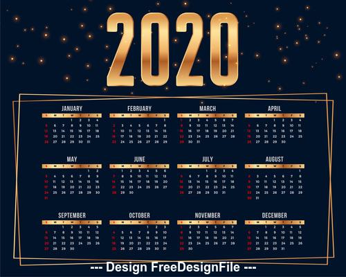 2020 premium calendar design template vector