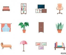 25 Colorful furniture icons vector