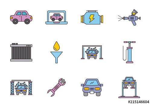 25 colorful car themed icons vector