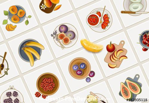25 colorful fruit icons vector