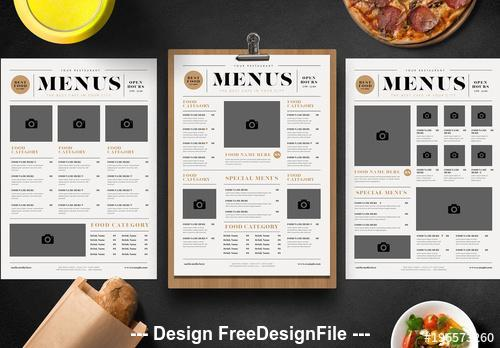 3 Menus with newspaper style vector