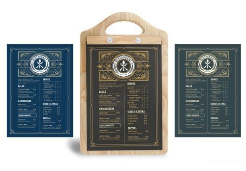 3 style restaurant menu template cards vector
