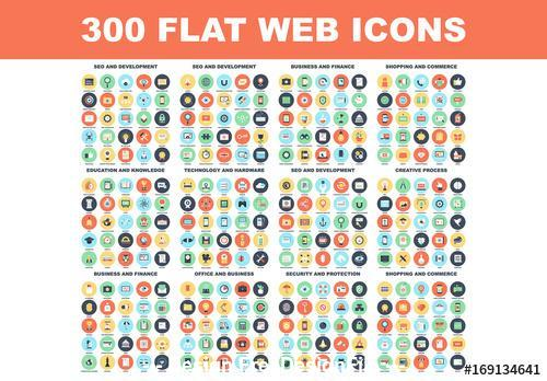 300 Colorful round icons vector
