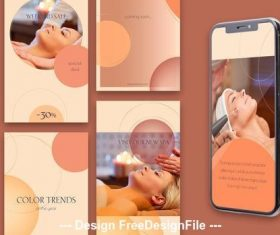 8 Social media stories circles and warm gradients vector