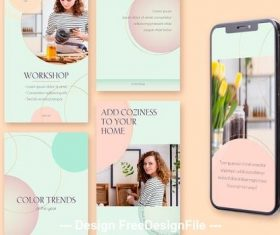 8 Social media stories gold circles and mint gradients vector