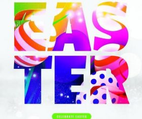 Abstract Colored Easter Flyer Psd Template