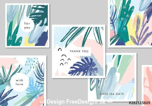 Abstract Illustrative floral card vector