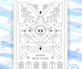 Abstract new year line pattern flyer vector