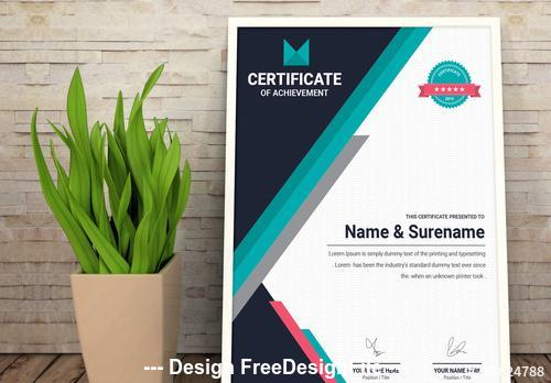 Achievement certificate layout with navy and teal elements vector