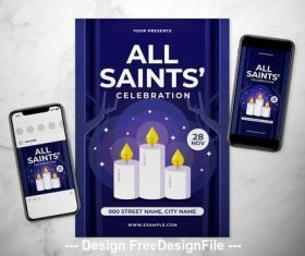 All saints day event flyer vector