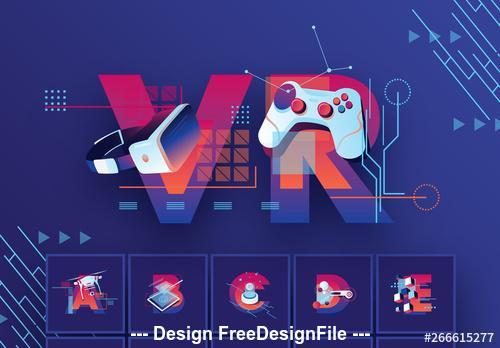Alphabet with futuristic illustration elements vector