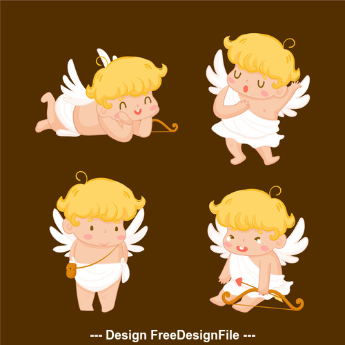 Angel cute expression cartoon illustration vector