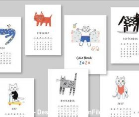 Annual calendar illustrated cats vector