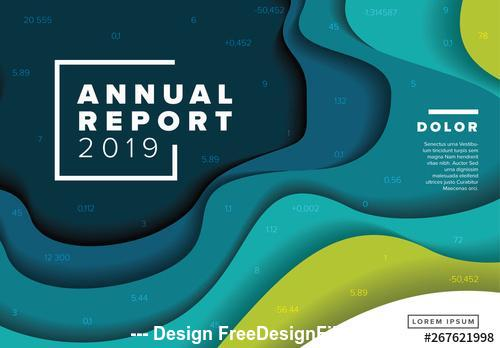 Annual report cover 3D wave elements vector
