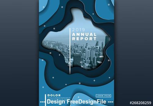 Annual report cover with blue cutout elements vector