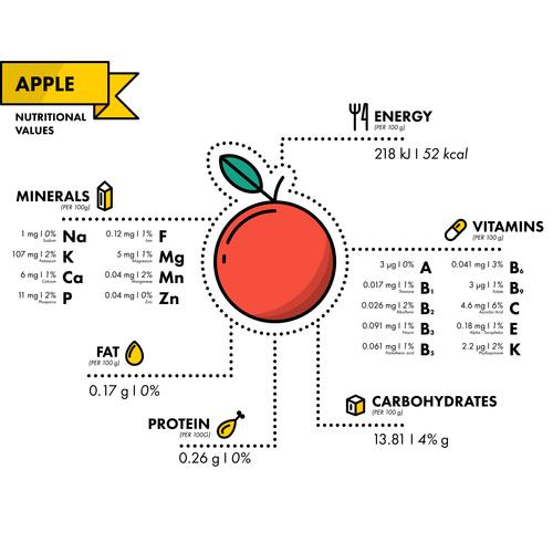Apple nutritional Information vector