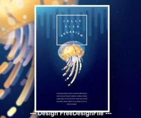 Aquarium poster and yellow jellyfish vector